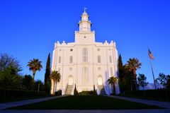 St George Utah LDS Mormon Temple in Early Morning Royalty Free Stock Images