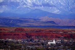 Free St. George Utah Valley With Mormon LDS Temple Red Cliffs And Snow Covered Mountains Stock Photo - 215606330