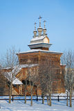 St. George the Victorious church. St. George the Victorious wooden church in Kolomenskoye, Moscow, Russia, in winter Royalty Free Stock Photos