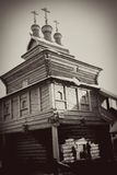 St. George the Victorious church. St. George the Victorious wooden church in Kolomenskoye, Moscow, Russia, in winter. Vintage style sepia photo Stock Photo