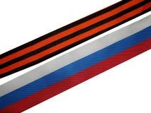 St- Georgeband und Band der russischen Flagge Stockfoto