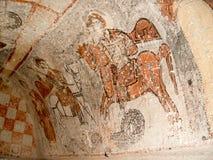 St- Georgefresko in der Kirche in Goreme, Cappadocia Lizenzfreie Stockfotos