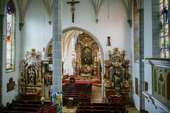 ST. GEORGEN, UPPER AUSTRIA/AUSTRIA - SEPTEMBER 18 : Interior Vie. W of the Parish Church of St. Georgen in Austria on September 18, 2017 royalty free stock image
