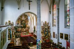 ST. GEORGEN, UPPER AUSTRIA/AUSTRIA - SEPTEMBER 18 : Interior Vie. W of the Parish Church of St. Georgen in Austria on September 18, 2017. Unidentified person stock images