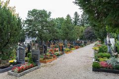 ST. GEORGEN, UPPER AUSTRIA/AUSTRIA - SEPTEMBER 18 : View of the. Graveyard at the Parish Church of St. Georgen in Austria on September 18, 2017 royalty free stock images
