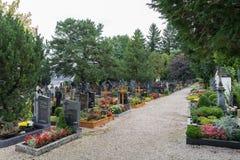 ST. GEORGEN, UPPER AUSTRIA/AUSTRIA - SEPTEMBER 18 : View of the. Graveyard at the Parish Church of St. Georgen in Austria on September 18, 2017 royalty free stock images