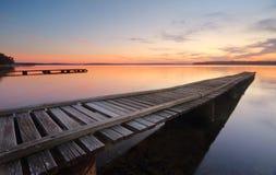 St Georges Basin Jetties på solnedgången Arkivbilder