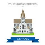 St Georges Cathedral in Guyana vector flat attraction landmarks Stock Images