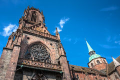 St. Georges Church in Selestat on a wine route of Alsace, France Royalty Free Stock Photos