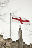 St georges cross on church. Snow in Cottingham East Yorkshire February stock photos