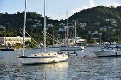 St Georges cruisehaven, hoofdstad van Grenada, de Caraïben stock foto