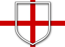 St Georges Flag With Shield Royalty Free Stock Image
