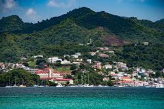 St Georges from Grand Anse beach. Grenada, St George`s and careenage, from grand anse beach Royalty Free Stock Photos