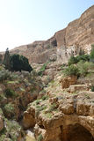 St. Georges Monastery (Wadi Kelt). St. Georges Monastery began in the fourth century with a few monks who sought the desert experiences of the prophets, and Stock Photo