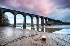 St Germans in Cornwall. A railway viaduct crossing the quay at St Germans in Cornwall stock photo
