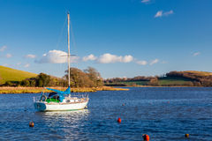 St Germans Cornwall. Yacht moored off the quay at St Germans Cornwall England UK Europe royalty free stock image