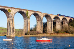 St Germans Viaduct Cornwall. The 1908 railway viaduct at St Germans Cornwall England UK Europe royalty free stock photos