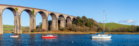 St Germans Viaduct Cornwall. The 1908 railway viaduct at St Germans Cornwall England UK Europe royalty free stock images