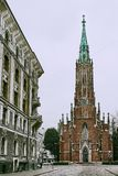 St Gertrude Old Church - iglesia del baznica del luteriska de Rigas Veca Svetas Gertrudes Evangeliski de la iglesia luterana evan fotografía de archivo libre de regalías