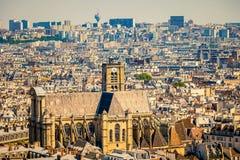 St-Gervais-et-St-Protais church, Paris. View on St-Gervais-et-St-Protais church and Paris Royalty Free Stock Photography