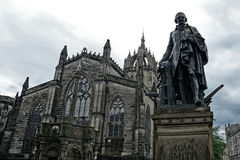 St. Gile`s Cathedral and the Statue of Adam Smith, Edinburgh, Sc stock photo