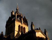 St. Giles Cathedral. In Edinburgh, Scotland in the setting sun royalty free stock image