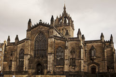 St. Giles Cathedral, Edinburgh. The front stone facade and main tower of the St. Giles Cathedral in Edinburgh, Scotland. The historic landmark is in the middle Royalty Free Stock Images