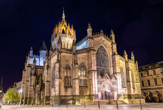 St Giles' Cathedral in Edinburgh. At night Royalty Free Stock Photo