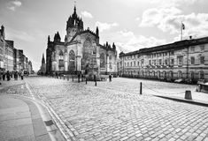 St Giles Cathedral in Edinburgh, Scotland. Black&White picture picture of St Giles Cathedral in Edinburgh Stock Photography