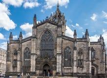 St Giles Cathedral hoofdingang, Edinburgh Schotland het UK stock afbeeldingen