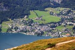 St Gilgen, il paesaggio intorno al lago Wolfgangsee, Schafbergbahn, Salzkammergut, Salisburgo, Austria Fotografia Stock Libera da Diritti