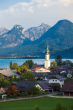 St. Gilgen and Wolfgang See lake with Sparber and Bleckwand peak Stock Images