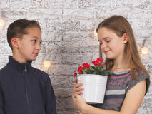 St Giorno del biglietto di S Giovane ragazzo che dà i fiori rossi alla sua amica Immagine Stock Libera da Diritti