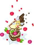 St Giorno di biglietti di S. Valentino - l'angelo di cioccolato Immagine Stock