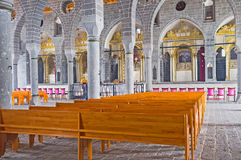 St Giragos Church. DIYARBAKIR, TURKEY - JANUARY 15, 2015: The interior of the Apostolic Armenian church, that has seven altars, on January 15 in Diyarbakir Stock Photos