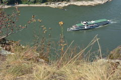 St. Goarshausen near Loreley with passenger boat Goethe Royalty Free Stock Image