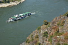 St. Goarshausen near Loreley with passenger boat Goethe Royalty Free Stock Images