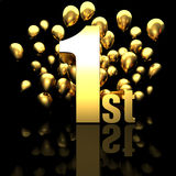 1st golden prize. 1st golden number and balloon background Royalty Free Stock Image