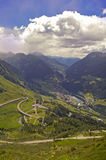 St Gotthard pass towards from Switzerland to Italy Royalty Free Stock Photo