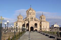 St Gregory собор иллюминатора, Ереван Армении стоковые фотографии rf