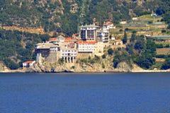 St Grigoriou het Klooster zet Athos Greece op royalty-vrije stock afbeeldingen