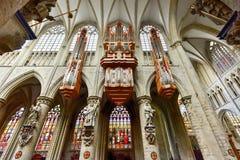 St Gudula大教堂,布鲁塞尔,比利时 图库摄影