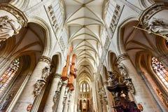 St Gudula大教堂,布鲁塞尔,比利时 免版税库存图片