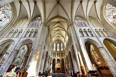 St Gudula大教堂,布鲁塞尔,比利时 库存照片