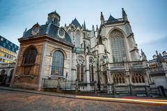 St Gudula Cathedral Brussels Belgium. The St. Michael and Gudula Cathedral in Brussels is named for the patron saints of Belgium and is the primary church of the royalty free stock photography