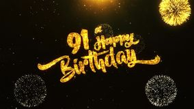 91st Happy Birthday Text Greeting, Wishes, Celebration, invitation Background. 91st Happy Birthday Text Greeting and Wishes card Made from Glitter Particles From royalty free illustration