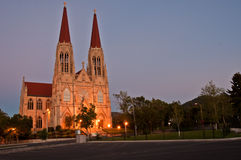 St. Helena Cathedral, Helena, Montana. The St. Helena Cathedral in Helena, Montana, is photographed in early evening capturing the beauty of the building as it Royalty Free Stock Image