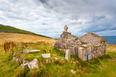 St Helens Oratory Cornwall. Ruins of St Helens Oratory an early Christian structure at Cape Cornwall near St Just Cornwall England UK Europe royalty free stock photo