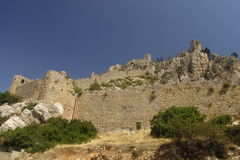 St. Hilarion Castle. The outer walls of the ancient St. Hilarion Castle near Kyrenia in North Cyprus royalty free stock images
