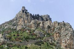 St. Hilarion castle. Ruins of the medieval St. Hilarion castle, North Cyprus stock photos